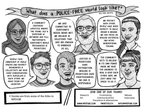 """What does a police-free world look like? By Tori Hong This page features portraits of folks in MPD150. There are a variety of people of different ages, ethnicities, and genders sharing their ideas of what a police-free world could look like. """"A community centered lifestyle where the young, old & everyone in between are full participants. Everyone's whole personhood is prioritized."""" """"We are committed to everyone's needs being met. We believe in solutions that are big enough to embrace us all."""" """"We protect each other. People have more capacity to build, dream & imagine. We can focus on healing historical and intergenerational trauma."""" """"People take ownership of public spaces and respect boundaries & collectivity. We have hard conversations with ourselves & each other. We make room for laughter."""" """"Justice is prioritized over retribution. Healing is prioritized over righteousness. No one is disposable."""" """"The community gets to believe in its own power again. We have the answers to heal & keep each other safe, we just need the space to do it."""" Join one of our teams! - Research - Art - Fundraising - Communications - Transition & Alternatives - Website - Interviews www.mpd150.com #MPDtruth info@mpd150.com"""
